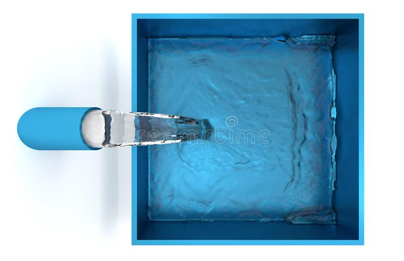Top View of Water filling up of a Blue Square Bowl stock illustration