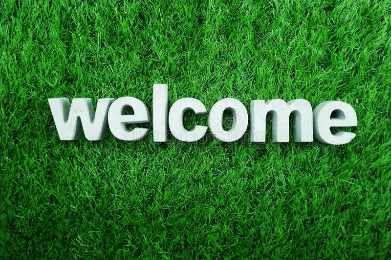 Welcome Home from made from concrete alphabet royalty free stock photography