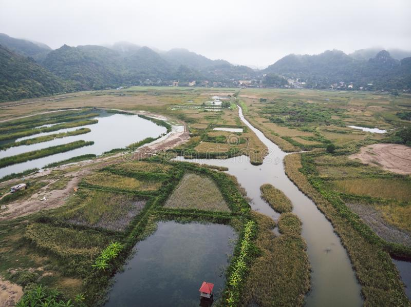 Top view of the wetlands of the island of Cat BA near the sea on land. Morning gloomy landscape of  countryside of Vietnam royalty free stock images