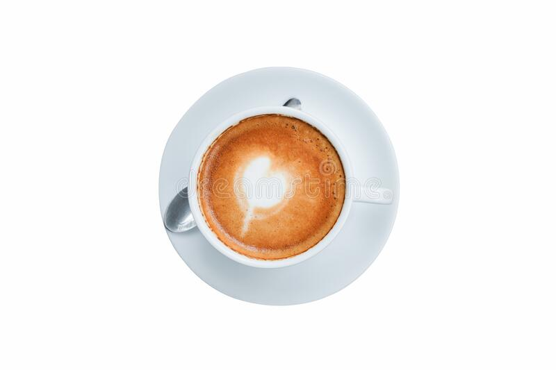 Top view, White ceramic cup of Latte art coffee. So delicious on isolated white background with clipping path stock photo