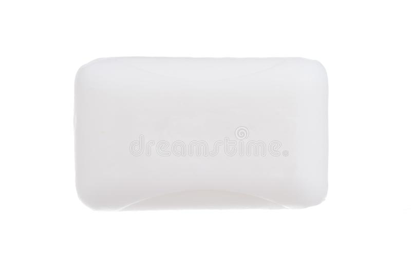 Top view of white hygiene toilet soap isolated on white background royalty free stock photo