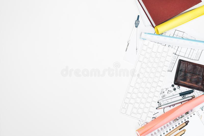 Blueprint and workplace concept stock photo image of objects top view of white office desktop with architectural sketch supplies and other items blueprint and workplace concept mock up malvernweather Image collections