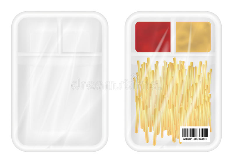 Top view of White polystyrene packaging mockup with french fries and ketchup inside stock illustration