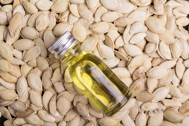 Pumpkin seeds with oil royalty free stock image