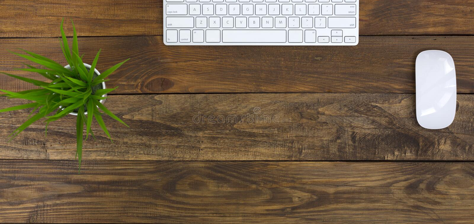 Top view of wide flat Lay office workplace wood Table stock photos