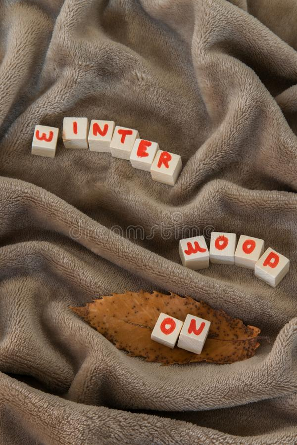 Top view of `Winter mood ON` text phrase on cozy blanket royalty free stock photo