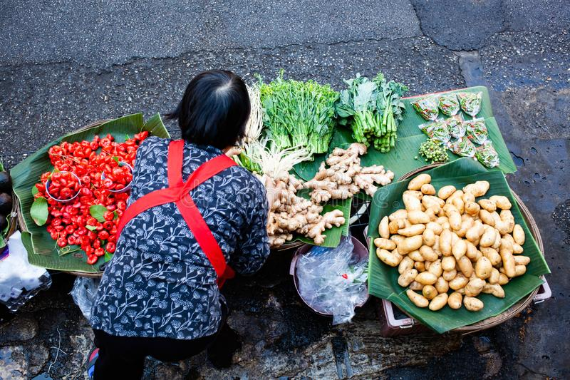 Top view of woman selling fresh fruit and vegatables - Thailan. Business, popular, tradition, canal, asia, floating, tourist, local, travel, vegetable, tourism royalty free stock photography