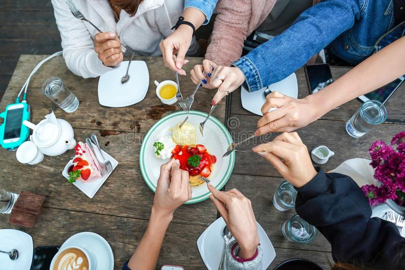 friend dessert party together royalty free stock photo