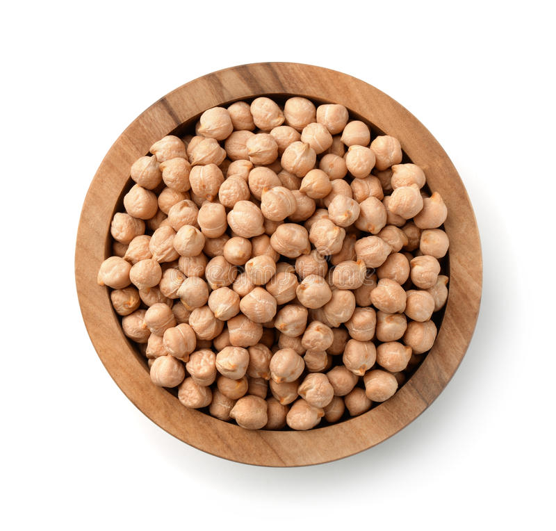 Top view of wood bowl with chickpeas stock photo