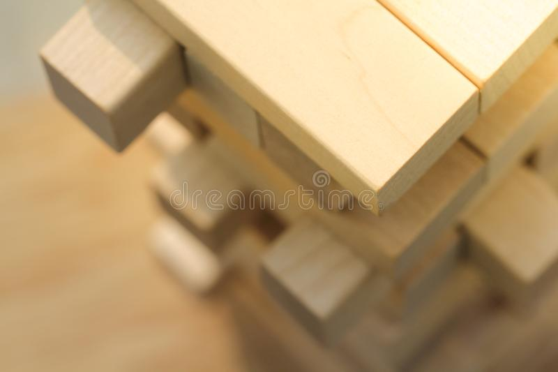 Top view of wooden block tower game royalty free stock photo
