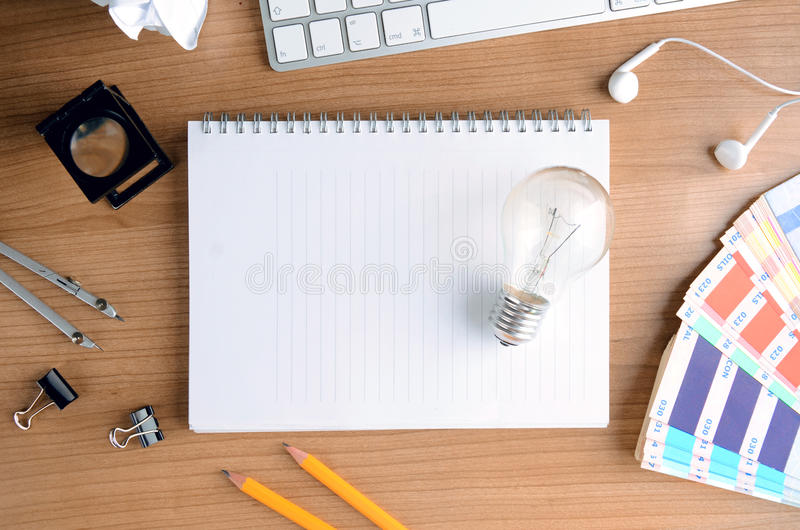 Top View Of Wooden Desktop With Design Equipment Stock