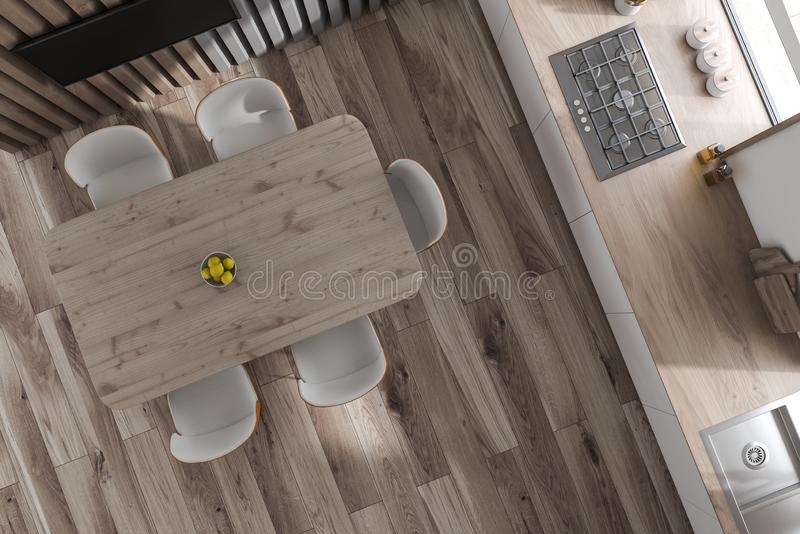 Top view of wooden kitchen with TV and table. Top view of stylish kitchen with wooden walls and floor, white countertops with sink and cooker, and dining table stock illustration