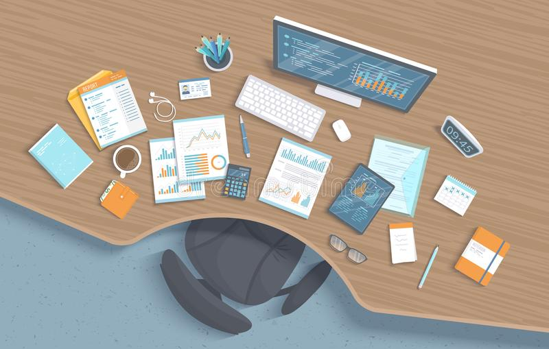 Top view of wooden office workplace with table, chair, business office supplies, documents, notebook, calendar. Charts, graphics. On a monitor screen. Vector royalty free illustration