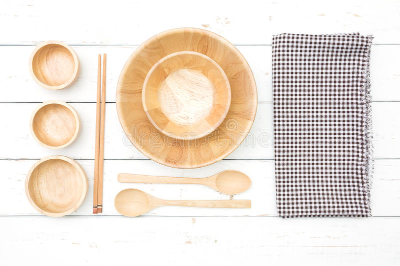 Top view of wooden plates. And accessories stock photography