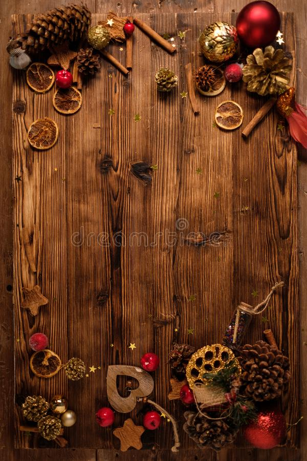 Wooden table with Christmas decoration. Top view of wooden table with Christmas decoration royalty free stock photography