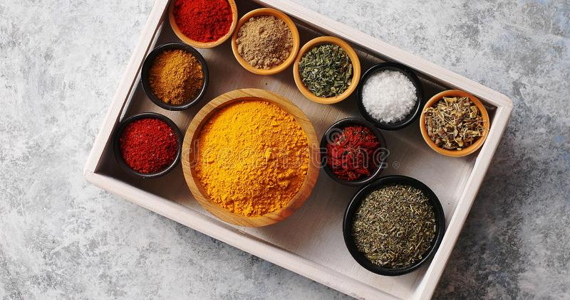 Arrangement of spices in tray royalty free stock photography