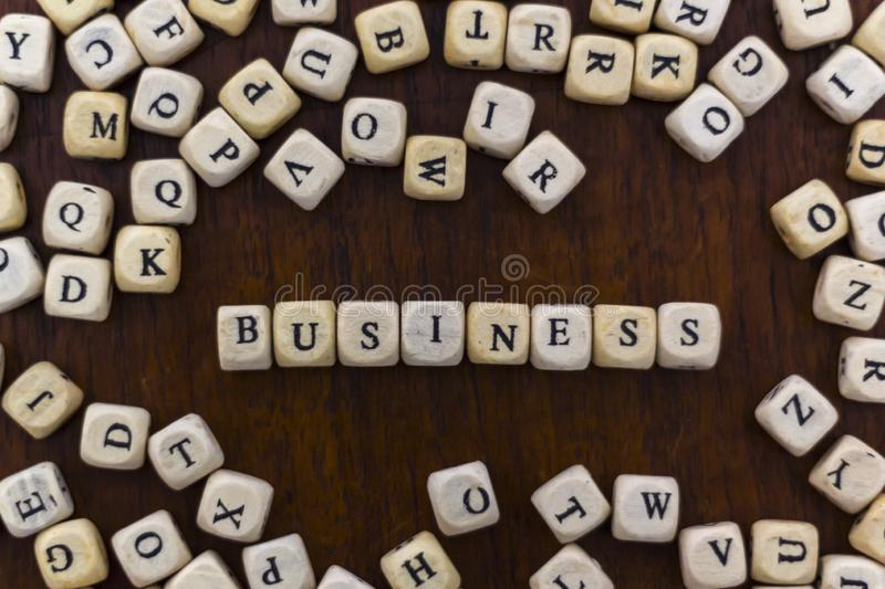 Top view of the word Business on wooden cubes royalty free stock images
