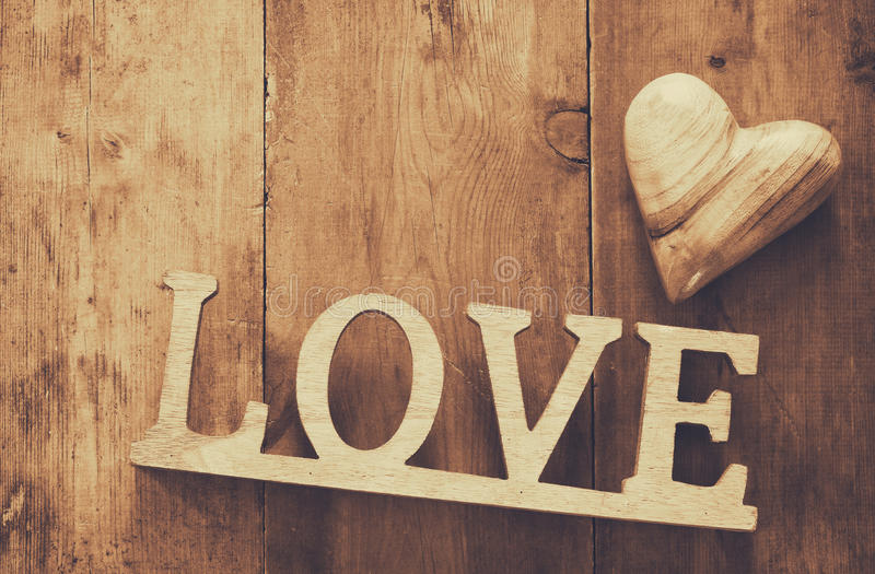 Download Top View Of Word LOVE From Wooden Letters And Heart Stock Image - Image: 83709017