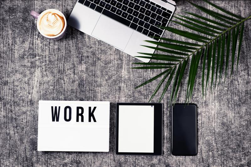 Business and freelance flatlay royalty free stock photography