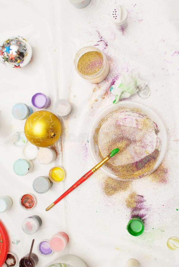 Download Top View Of Working Place For Funny Creations Stock Image - Image: 31593673