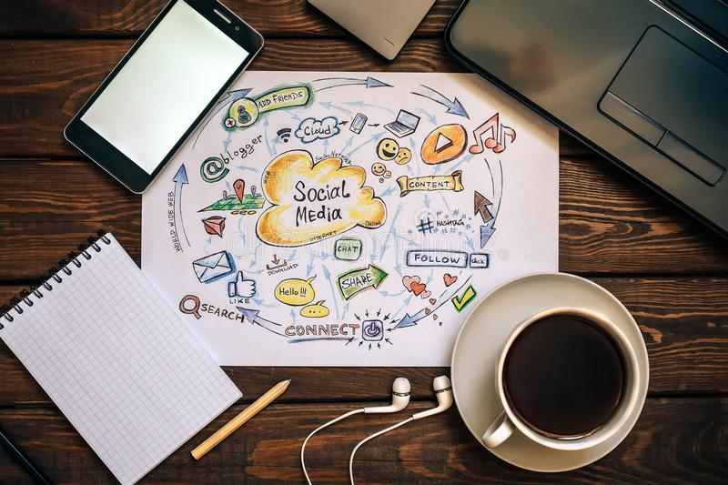 Top view of working place - Social media and Social Network Marketing concept. Funny picture of modern internet communication trends. Cup of coffee, laptop royalty free stock photo