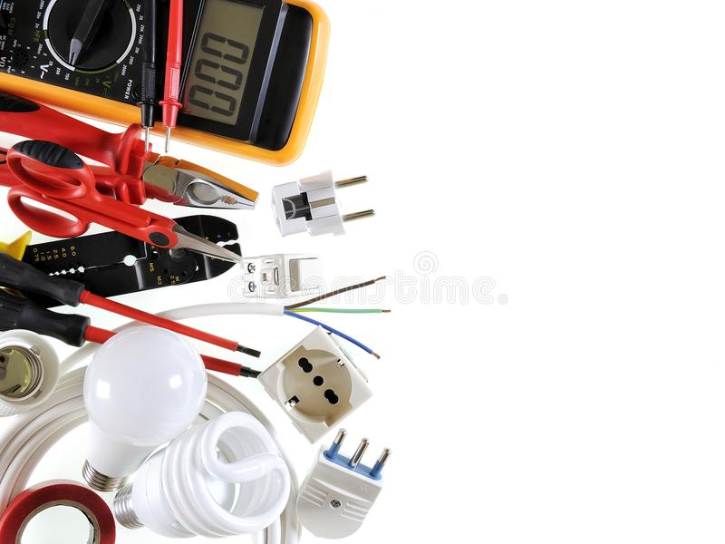 Top View Of Working Tools And Components Of The Electrical System On ...