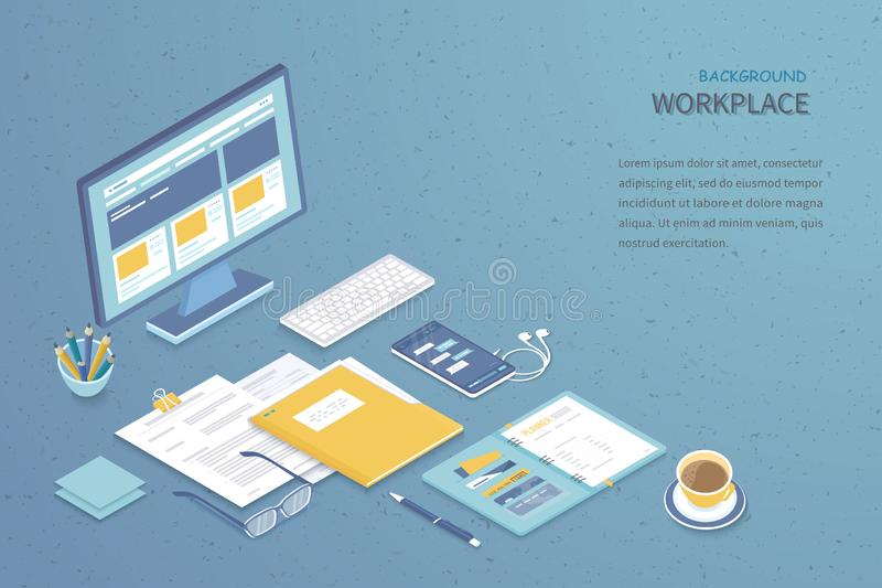 Top view of workplace background. Monitor, keyboard, notebook, headphones, phone, documents, folder, planner. Workspace Analytics. Optimization Management vector illustration