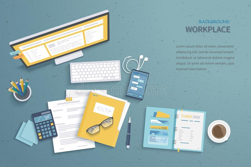 Top view of workplace background, monitor, keyboard, notebook, headphones. Workspace, analytics, optimization, management. Top view of workplace background royalty free illustration
