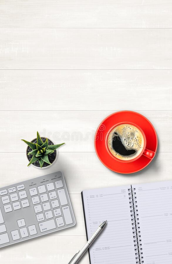 Top view of a workplace with copy space on the top stock photos