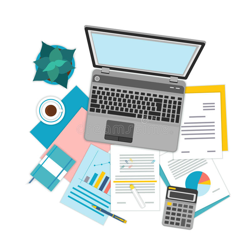 Top view of workplace with documents and laptop. Concepts for business analysis, consulting, teamwork, project management, financial report and strategy vector illustration