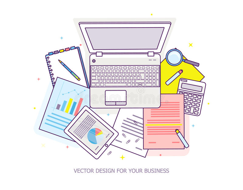 Top View Of Workplace With Documents And Laptop. Stock Vector ...