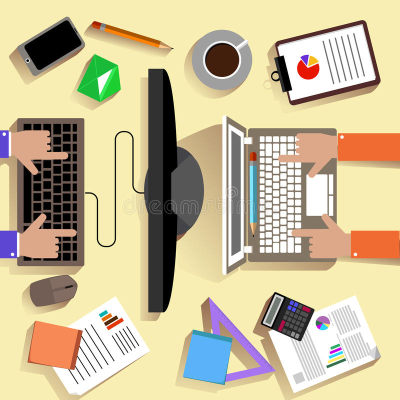 Top view of workplace with laptop and devices vector illustration
