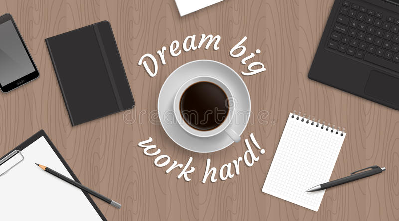 Top view workplace witn coffe vector illustration