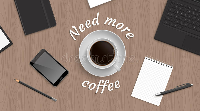 Top view workplace witn coffee royalty free illustration