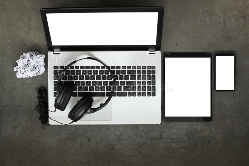 Top view of workspace of composing music concept royalty free stock photos