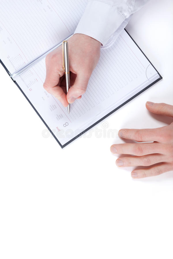 Download Top View Of Writing Hand Of Businessman Stock Image - Image: 26880957