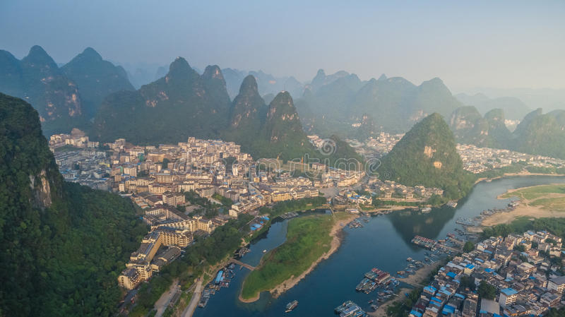 Top View of Yangshuo County stock photography