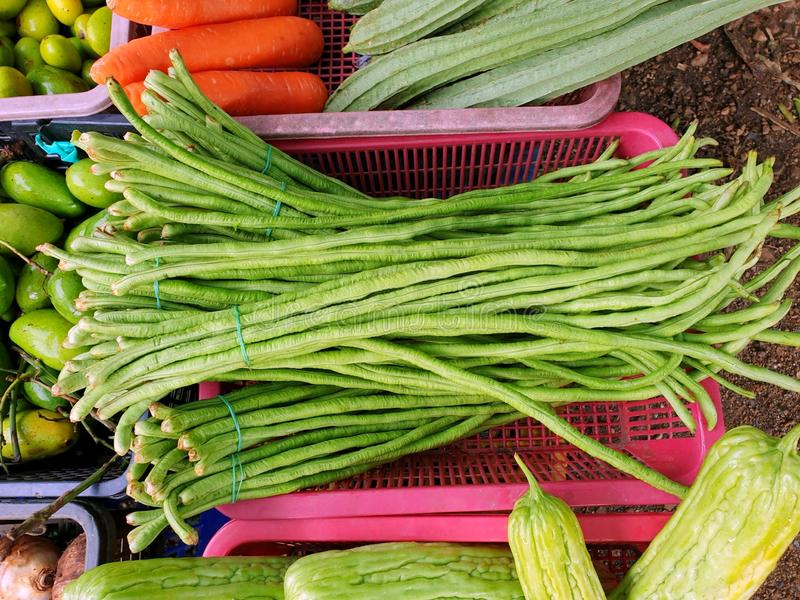 Top view of yard long bean on basket for sale in the market royalty free stock images