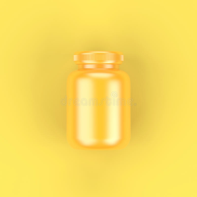 Top View Yellow Bottle on Yellow Background. royalty free stock images