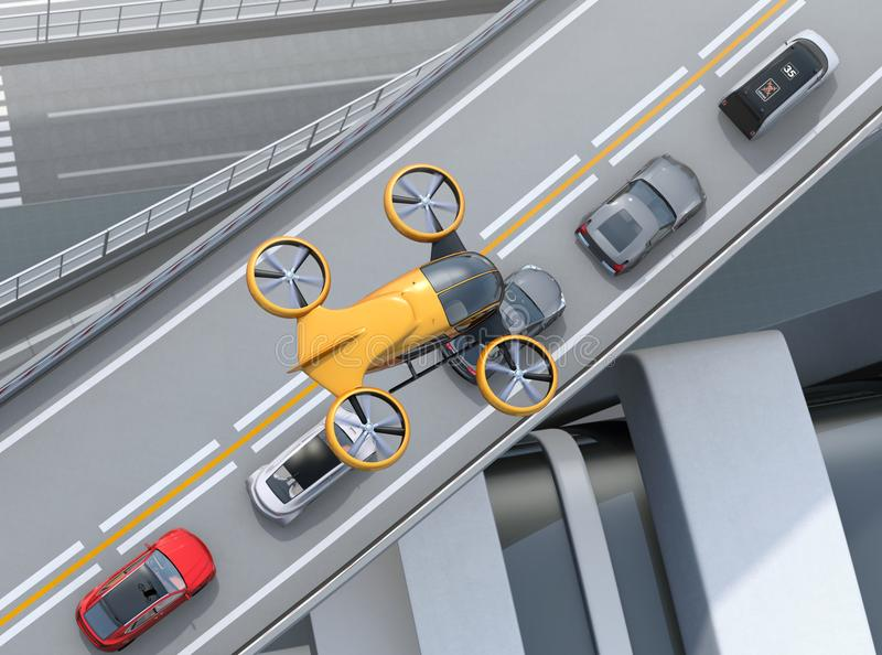Top view of yellow passenger drone flying over cars in heavy traffic jam. Concept for drone taxi. 3D rendering image royalty free illustration