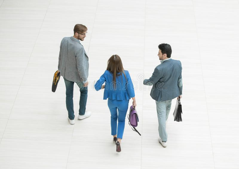 Top view.young business people walk together stock image