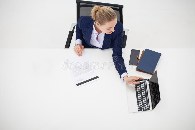 top view, young business woman sitting and working on office de royalty free stock image