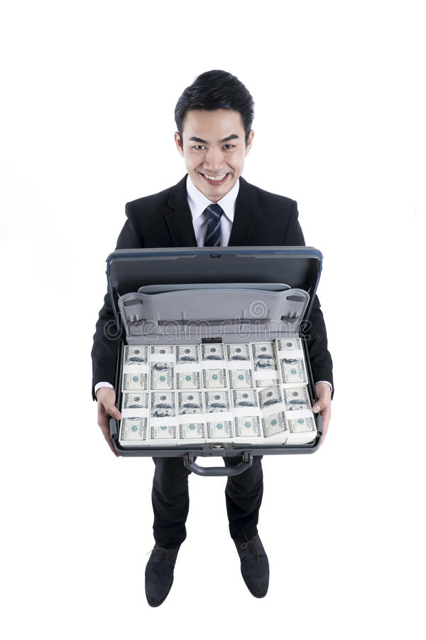 Top view with the young businessman holding full dollars in brie stock images
