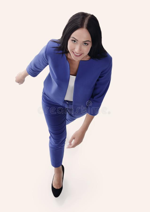 Top view of a young businesswoman. on white background. stock photos