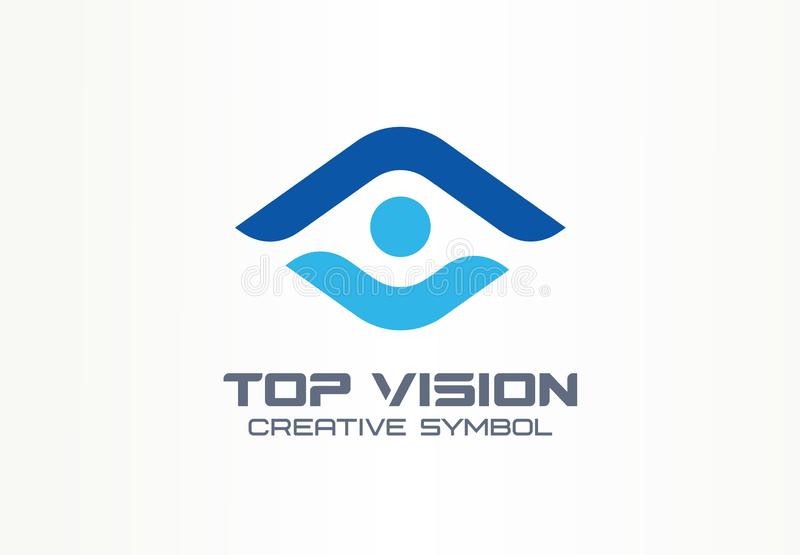 Top vision, man eye creative symbol concept. Protect people, security, care abstract business logo idea. Growth stock illustration