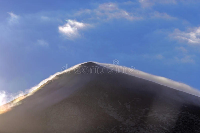 Top of volcano in Timanfaya area. In Lanzarote in morning light stock photo
