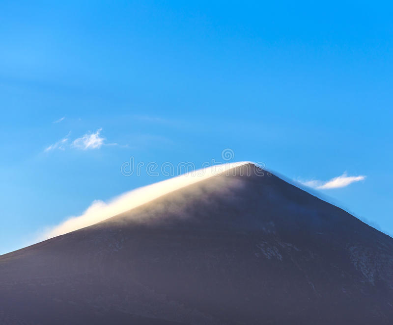 Top of volcano in Timanfaya area. In Lanzarote in morning light royalty free stock image