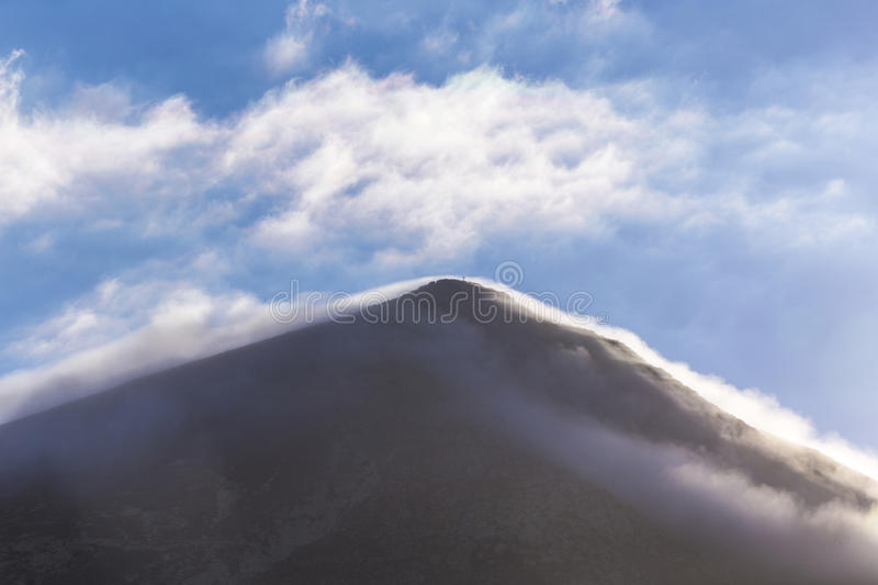 Top of volcano in Timanfaya area. In Lanzarote in morning light stock photos