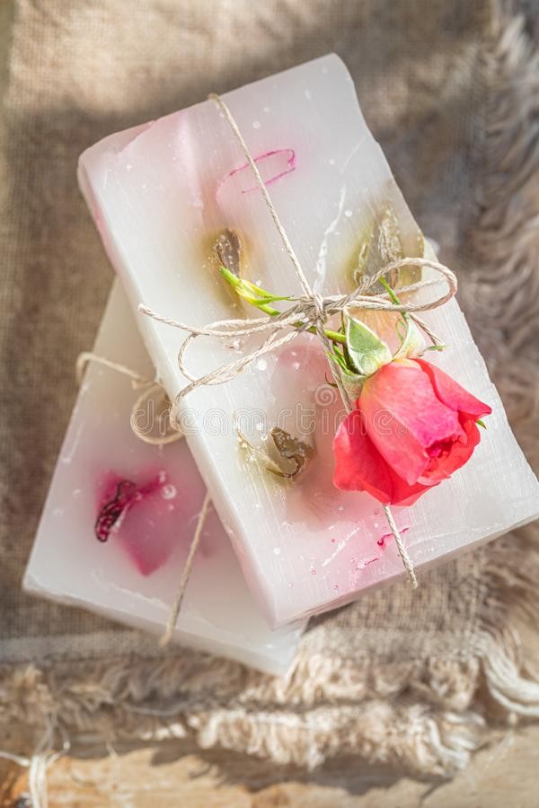 Top vuew of aromatic rose soap made of fresh flowers stock photography
