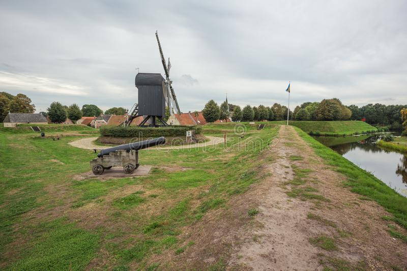 On top of the wall of Bourtange royalty free stock image